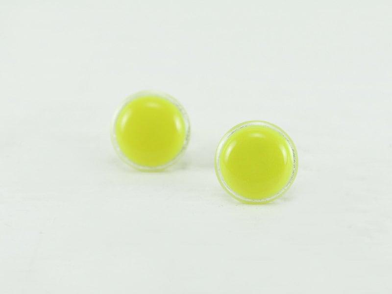 neon yellow stud earrings 14mm neon yellow earrings neon