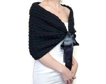 Wedding Cape, Black Crochet Shawl, Bridal Jacket, Black Bolero Jacket, Wedding Shrug, Bridesmaid Shawl, Knit Wrap
