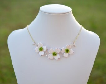 Trio White Dogwood Necklace, Dogwood Vine Necklace, Dogwood Vine Center Necklace.