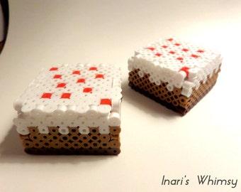 Minecraft Cake Perler 3D
