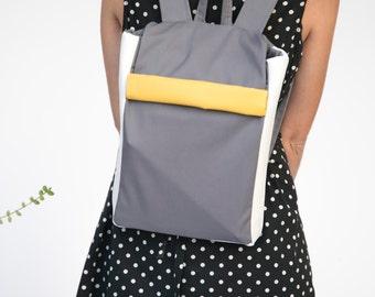 Canvas Backpack, Colorful Backpack, Grey Laptop Backpack, Color Block Backpack, Small Backpack, Back to School, School Backpack, Grey Bag