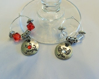 Set of 2 Naughty or Nice Valentine's Day Couple Wine Charms