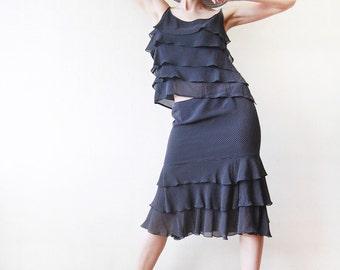 ESCADA vintage pure silk navy blue white polka dot tiered ruffle top skirt suit set M-L