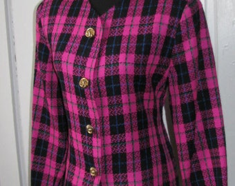 HOT PINK PLAID // 80's Pablo Collection Blazer Suit Black Size m/l Preppy Chic Hipster Spring Jacket Woven Knit