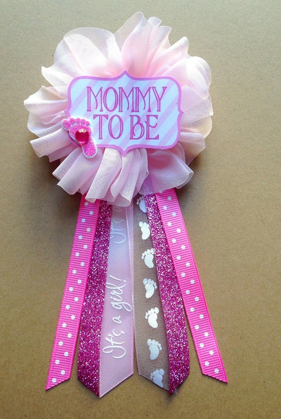 pink baby shower mommy to be pin baby shower pin flower ribbon pin
