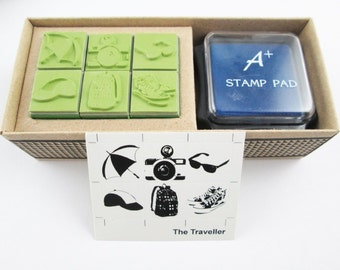 Children Stamp with ink pad, Traveler Set with non toxic ink, Sun Glasses, Backpack, sneakers, on the beach , baby shower, kid, Pot, School
