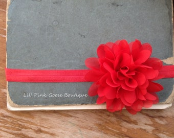 RED PETAL FLOWER Headband, Baby, Newborn Headband, Red Headbands, Newborn Baby, Headbands, Infant Headbands, Headbands for Babies