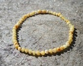 Baltic Amber Teething Necklace, Bracelet, Anklet, or Belly Chain - Lightest Color- Milky Yellow White Raw Unpolished - Screw or Safety clasp