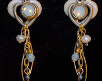 Opal Pearl Heart Gold Tone Metal Dangle Earrings