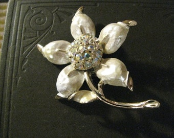 Vintage Retro 50s Aurora Borealis Rhinestone Flower Brooch Pin Free USA Shipping and Tracking Included in Price