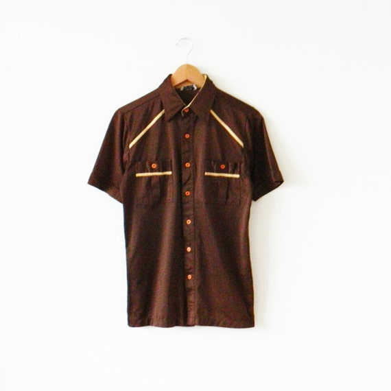 Men 39 s vintage swanky chocolate brown shirt vintage for Mens chocolate brown shirt