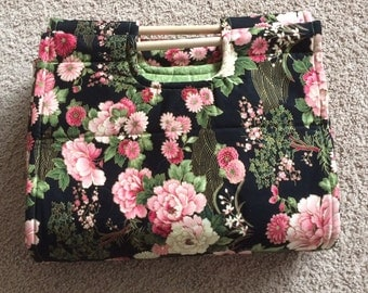 Insulated Casserole Carrier - Asian Flowers on Black, Personalization Available