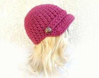 Womens hat, crochet newsboy hat, Women bonnet hat, warm hat with brim, pink hat, bronze owl buttons 'ELENA BONNET'