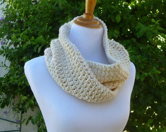 Infinity Scarf Beige Cowl Womens scarves Mens scarf Crocheted Cowl Womens spring accessories Lightweight scarf