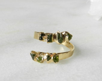 peridot ring, raw gemstone, raw peridot, august birthstone, open ring, gold ring, electroformed, gifts for her
