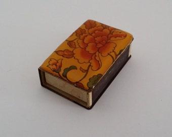 Vintage Enamel Matchbox Holder -- Gold Floral Decoration