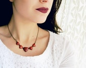 Heart Necklace. Red Jasper Necklace. Bohemian Jewelry. Rustic Necklace. Natural Stone Necklace. Geometric Burgundy Necklace. Gifts for Her.