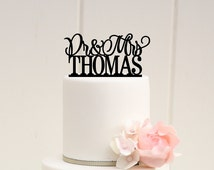 Dr and Mrs Wedding Cake Topper Personalized with YOUR Last Name - Custom Cake Topper - 0119