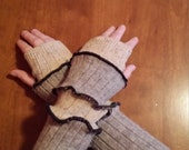 Arm Warmers / Fingerless Gloves - Grey and Beige Panels with Black Serged Edges