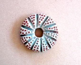 Handcarved Porcelain Donut Bead,  Ceramic  Pendant Jewelry, Supplies, Handmade Jewelry