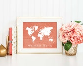 Coral World Map Art Print, Adventure Awaits Poster, Travel Nursery Decor, Baby Shower Gift, Office Decor, Coral Nursery Art, P-016