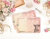 Funny Bridal Shower Recipe Cards, Sexy Bride, Corset, French Recipe Cards, Cottage Chic, 4x6, Paris Pink  Recipe Cards, Set of 12