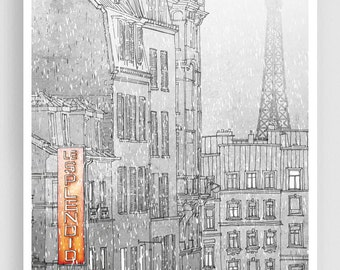 Winter in Paris - Paris illustration Art illustration Eiffel tower Paris art poster Paris decor Living room decor Wall decor Wall art Snow