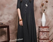 black evening Dress, Long Sundress, Elegant Maxi Linen Dress, Plus Size Kaftans