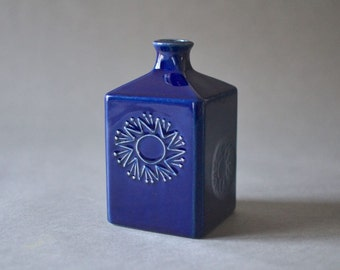Vintage vase West German pottery deep blue 1960 WTK Mid-Century cobalt blue