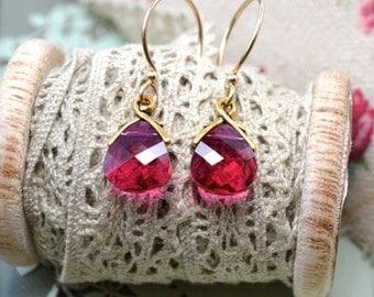 Ruby Red Earrings, Gold Fill Earrings, Crystal Earrings, Swarovski Drop Earrings, Anniversary, Wife Gift for Women, Ruby Dangle Earrings UK