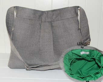 Stone Grey Diaper Bag with Emerald Lining