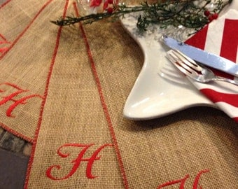 Burlap Placemats - Burlap monogram EMBROIDERED Personalized Embroidered Placemats - set of 4