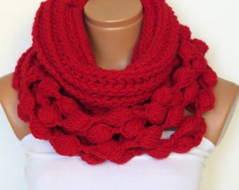 Knit infinity scarf, chunky infinity scarf,  red scarf, scarf,sexy red, crochet, fall, winter, crochet, valentines day, Gift For Her,