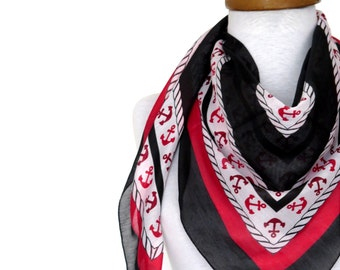 Anchor scarf, Black, Red, White, Anchor pattern Turkish Yemeni Scarf ..bridal,scarf,authentic, romantic, elegant, fashion, sailor scarf