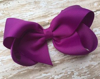 4 inch ultraviolet hair bow - ultra violet boutique hair bow, purple bow, 4 inch bows, boutique bows, girls hair bows, toddler bows, bows