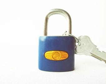 Vintage retro deep blue padlock miniature lock and key