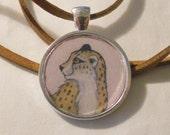 cheetah pendant - animal necklace - panther jewelry - animal charm