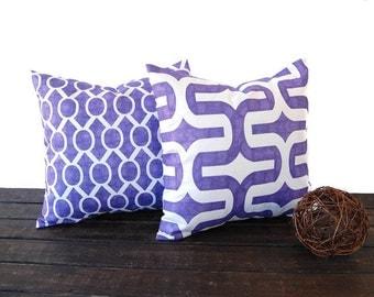 Purple throw pillows pair 16 x 16 decorative throw pillow covers grape purple cushion pillow sham