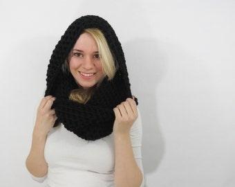 chunky hood scarf. black scarf. crochet cowl scarf. black cowl. chunky scarf. circle scarf. infinity scarf. womens scarf. winter hood cowl.