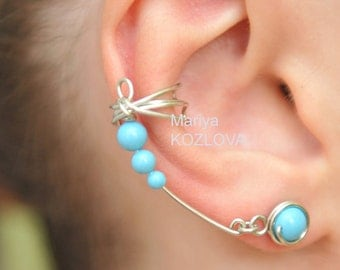 Right Ear Silver and Turquoise Color Dragonfly Wings Cuff Earrings - Genuine Swarovski Pearls, tarnish resistant wire