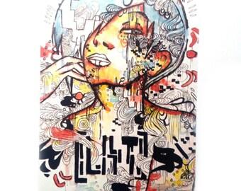 Artist Trading Card - ACEO - ACEO print - Pop art - Watercolor art - Mini art card - Small art card