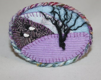 Embroidered Applique Moorland Brooch - Hill-side sheep stitched by Lynwoodcrafts