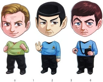 Mix and Match Magnets: Kirk, Spock, McCoy (Star Trek TOS Set)
