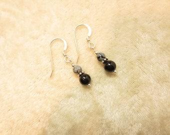 Snowflake Obsidian on Black Onyx Earrings - Stacked Earrings - Sterling Silver - 14k Gold Fill - Dangle Earrings