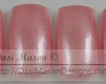 Glittery Pink Hearts Instant Acrylic Nail Set