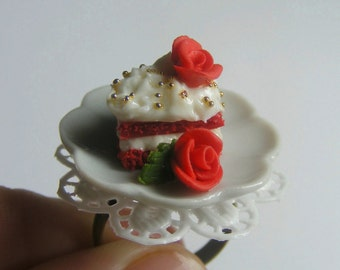 Food Jewelry Red Velvet Cake Ring, Miniature Food Ring, Cake and Rose Ring, ,Mini Food Jewellery, Cake Jewelry, Kawaii Ring, Roses Ring