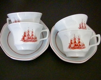 Wedgwood, 4 Flying Cloud Tea Cup and Saucer, Made in England, Set of Four