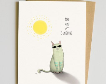 You Are My Sunshine - A2 Card - Kitty With Sunglasses, Cute Cat Card
