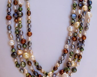 Multi Color Fresh Water Pearl Necklace Extra Long