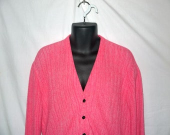 Vintage 60s 70s cardigan sweater /  PINK knit / grandpa dad  boyfriend  hipster / mens womens unisex